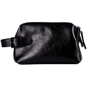 [ザザランド]クラッチ バッグ ファスナー で大きく開閉 大容量 セカンド バック 合皮 レザー メンズ 黒
