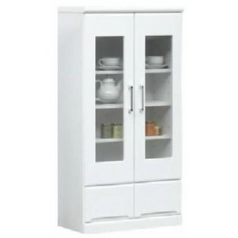 ミドルキャビネット シェルフ 戸棚 (リビングボード/整理 収納 棚) 【幅60cm】 可動棚付き (置き台 置き場付き) 日本製 国産 ホワイト(白