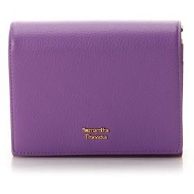 サマンサタバサ スプリングカラー 折財布 レッドパープル