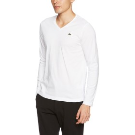 (ラコステ)LACOSTE VネックTシャツ (長袖) TH340E 001 ホワイト 004