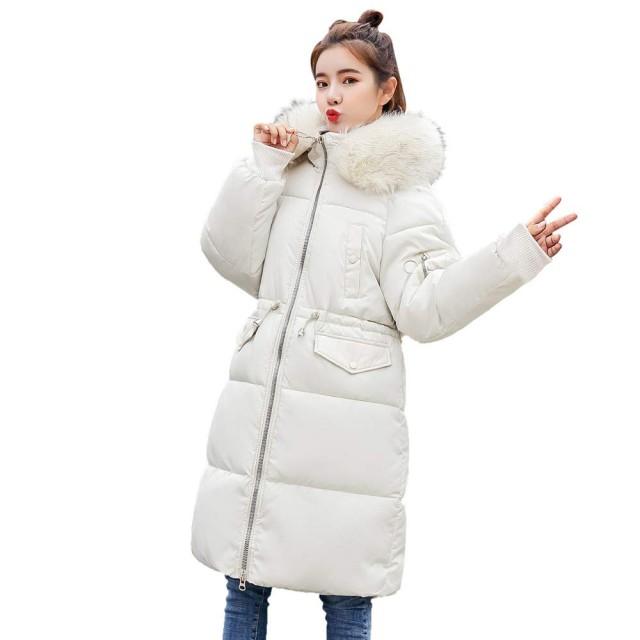女性のダウンジャケット、三番目の店 女 ロングスリーブ アウターウェア コットン パッド入り ジャケット ポケット フード付き ロングコート