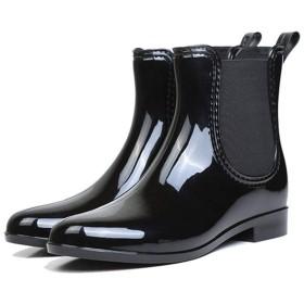 [YYBO] レインブーツ ベルト 長靴 レインシューズ 可愛い 美脚 ショート 折りたたみ 防水 ミドル 丈 レディース 滑りにくい 無地 おしゃれ 軽量 雨靴 ブラック 通学 通勤 雪 ゴム 折り畳み 24.5cm コンパクト アウトドア 蒸れない