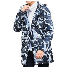 Qiangjinjiu メンズ迷彩プリントルーズフィットジャケットミッド丈厚フードコットンパッドコート Gery L