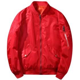 [ジンニュウ] メンズ ジャケット アウター 長袖 カジュアル ゆったり 上着 ブルゾン 防寒 ポケット ファッション 秋冬 通勤通学 男女兼用 大きいサイズ レッド XL