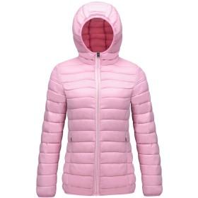 ダウンジャケット レディース 軽量 防風 防寒 ダウン コート 暖かい ウルトラライト ライトダウン 女性 フード付き 春秋冬 ピンク XL