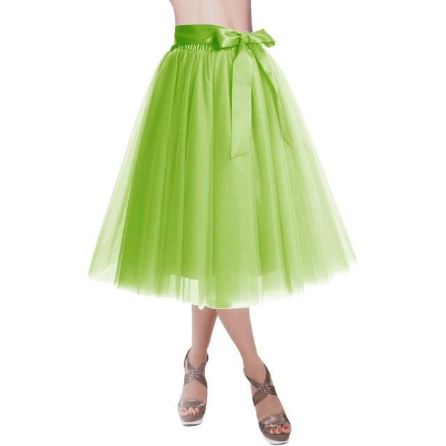 Dresstell(ドレステル) チュールスカート Aライン 4枚チュール 裏地付き 両用 ミモレ丈 レディース 若葉 M-L