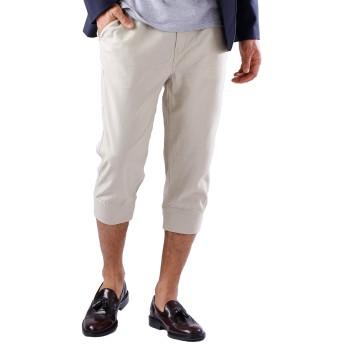 (モノマート) MONO-MART 綿麻 クロップド ジョガーパンツ リネンパンツ パンツ 7分丈 メンズ ベージュ Lサイズ