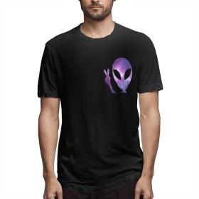 宇宙人 Space Alien Tシャツ メンズ ユニーク コットン プリントティーシャツ 丸首 ショートスリーブ 夏季対応トップス 人気 吸汗速乾 カジュアル 通学 通勤