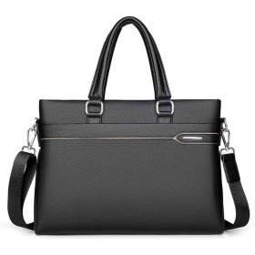 ビジネスバッグ メンズ 本革 牛革 A4対応 2way bag トートバッグ 就活 通勤 出張 PC収納 14インチPC対応 ブラック 黒