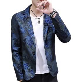 [MANMASTER(マンマスター)]テーラードジャケット ブレザー 光沢 総柄 一つボタン ステージ衣装メンズ CH508 (L, ブルー)