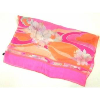 レオナール LEONARD ストール(ショール) レディース ピンク×オレンジ×マルチ 花柄 シルク【中古】20190714