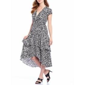 カルバンクライン レディース ワンピース トップス Leopard Print Ruffle Hi-Low Hem Midi Wrap Dress Black Cream
