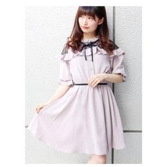 ROJITA レース切替ラッフル5分袖ワンピース ピンク