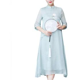 [美しいです]シフォンワンピ 中国風 膝丈 ワンピース 花柄 チャイナドレス ワンピース 写真色AS