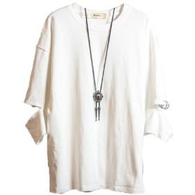 [Isome]メンズtシャツ 紳士tシャツ 七分袖 春 夏服 Tシャツ ゆったり個性 スポーツ ファション 涼しいtシャツ ホワイトXXL
