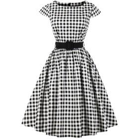 YACUNレディース ワンピース ドレス 半袖 格子縞 1950 年代 レトロ Aライン ベルト付き カクテル 結婚式 パーティー 黒 S