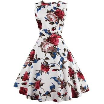 FTVOGUEレディースハイウエストラインビンテージスタイルノースリーブプリーツワンピースのピンナップドレス (M)