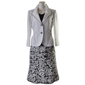 ノーブランド品 百貨店品質 ウエスト スラブ調シレー3点スーツ 着回しスーツ 2つボタンジャケット 475 13号 白ジャケット&黒