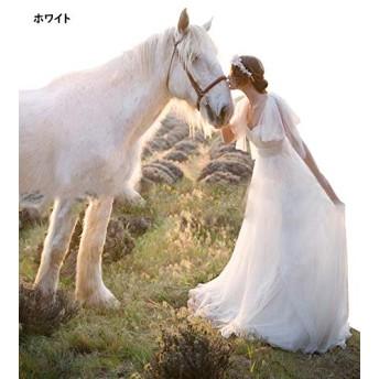 レディース 演奏会ロングドレス 9wayドレス 花嫁 ウェディングドレス 7color 花嫁の介添えドレス ロングドレス プリンセスドレス (ホワイト, S)