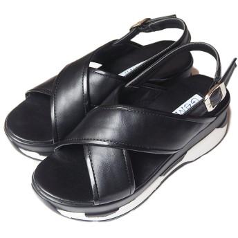 [GeMini] サンダル レディース スポーツサンダル 厚底 スポーティ 歩きやすい ブラック クロスタイプ(7505) Black M(23~23.5cm)