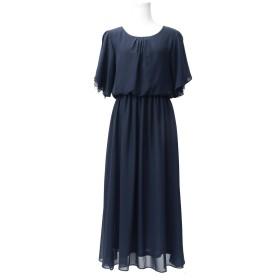 (ファッションレター)FashionLetter レーススリーブ 結婚式 ロング丈 ワンピース パーティードレス n086 (L,ネイビー)