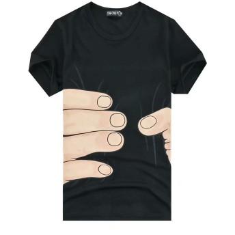 FollowDream 面白い Tシャツ メンズシャツ 3DTシャツ 掴まれた 輪切り プリント ドライ素材 スポーツ 吸水速乾 無地 カットソー カジュアル おしゃれ シンプル 男女兼用 カップルお揃い