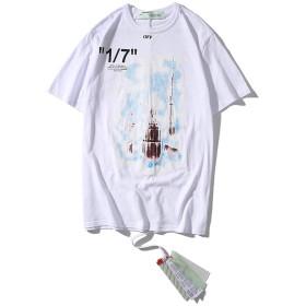 OFF WHITE(オフホワイト)メンズ Tシャツ 無地 柔らかい ファッションおしゃれ 快適な 春夏着服 (ホワイト, S)