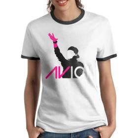 Avicii アヴィーチー Tシャツ ラグラン 女性 半袖 丸えり 柔らかい ブラック ゴルフウェア 部屋着 四季 格好いい