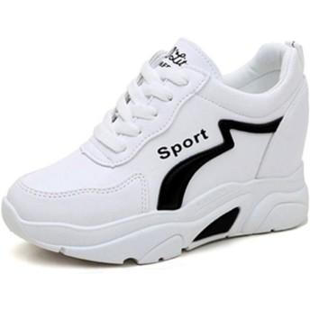 [GoldFlame-JP] ウォーキングシューズ レディース インヒール 厚底靴 スニーカー ランニング ジム 運動会 レザー 防水 滑り止め ハイカットスニーカー 快適 通気 歩きやすい 白 黒 レッド
