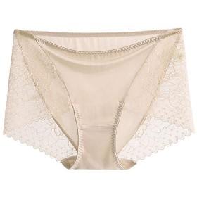 シルク 絹 ショーツ レース silk シルク100% ボクサーショーツ silk100% レディース セクシー パンツ 下着 お腹に優しい 敏感肌 低刺激 快適 保湿 (L, ライトベージュ)