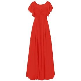 Dresstell(ドレステル) レディーズ ロング丈 お呼ばれ 結婚式ドレス 二次会ドレス フリル袖 ふんわりシフォン ビスチェタイプ フォーマルドレス 披露宴 ステージドレス レッド 17号