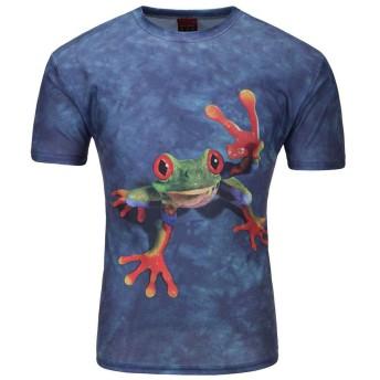 (ベストギフト) Bestgift メンズ 3Dピクチャー 半袖 Tシャツ ブルー XXXXL