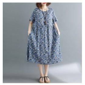レディース 女性 ワンピース 大人 半袖 花柄 フラワー ロング丈 ミモレ丈 大きいサイズ ゆったり 送料無料