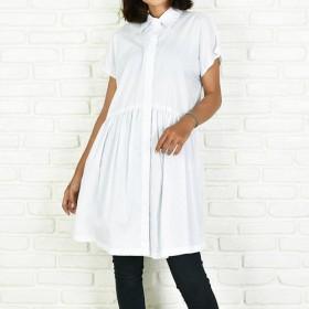コットンフレンチスリーブシャツ <ホワイト>