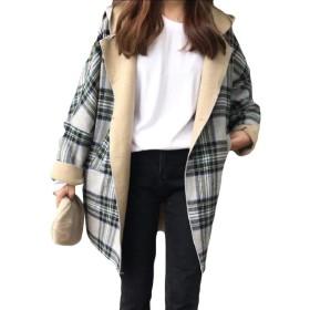 Romancly 女性クラシック英国スタイルフード曲線フリース格子縞のコート Grey OS