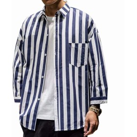 KOGARASI メンズ シャツ 七分袖 カジュアルシャツ ストライプ柄 夏 大きいサイズ ゆったり 黒 白 紺 ボタンダウン オーバーサイズ ビッグシルエット 通気 快適な M-5XL