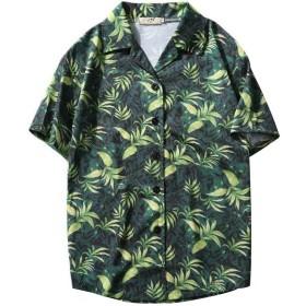 LLXNN メンズ シャツ アロハシャツ プルオーバー パイナップル 柄 プリント 薄手 ユニセックス ゆったり 通気速乾 夏服 ビーチ リゾート 海 カジュアル M-2XL(Green-M)