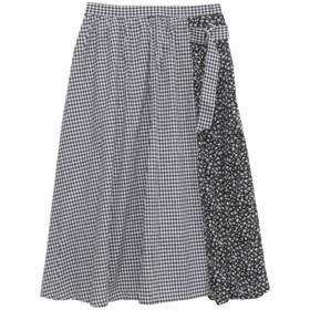 (ハッピーマリリン) 選べる3柄! クレイジーパターン ロング丈 スカート 【857952】4L/ギンガム/ブラック