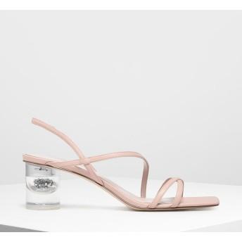 【2019 FALL 新作】アシメトリカルストラップ ルーサイトヒールサンダル / Asymmetrical Strap Lucite Heel Sandals (Nu