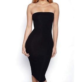 VITryst 女性セクシーチューブ膝長さbodyconカクテルスイングドレス Black S