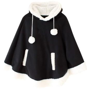 [RSWHYY] レディース 秋冬 コート マント アウター ファッション パーカー ドルマン もこもこ フード付 ポンチョ 可愛い 暖かい 冬物 学生風 彼女 プレゼント クリスマス ブラック FREE