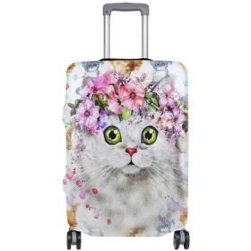 スーツケースカバー 伸縮弾性素材 洗える おしゃれ 旅行 海外 猫 ファンタジー パターン トラベルダストカバー 通気性 傷防止 防塵カバー