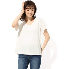Tシャツ トップス レディース 半袖 Vネック 無地 UVカット Honeys ハニーズ 半袖AラインTシャツ 654013553851 オフ L