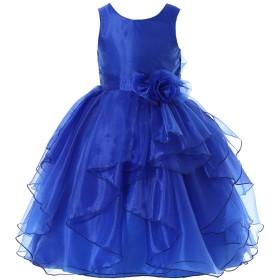 Bow Dream 女の子ドレス ガールズドレス フォーマルドレス ピアノ発表会 演奏会 写真撮影 結婚式 オーガンジーロイヤルブルー145