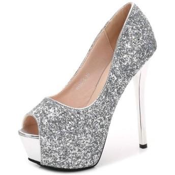 パンプス 24.0cm 靴 レディース キャバ グリッターワンカラー オープントゥ パンプス ハイヒール パンプス 靴 レディース シューズ キャバ ヒール ドレス 大人 女性用 靴 シューズ シルバー フォーマル かわいい ストーム