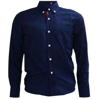 TOOGOO ダークブルーカラー 秋スタイリッシュファッションショーツ 男性メンズソリッドカラー リボンロングスリーブスリムフィット カジュアルなシャツ L