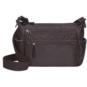 RFIDマルチポケットオーガナイザークロスボディバッグ軽量旅行ショルダーハンドバッグナイロン防水財布盗難防止カードスロット (コーヒー)