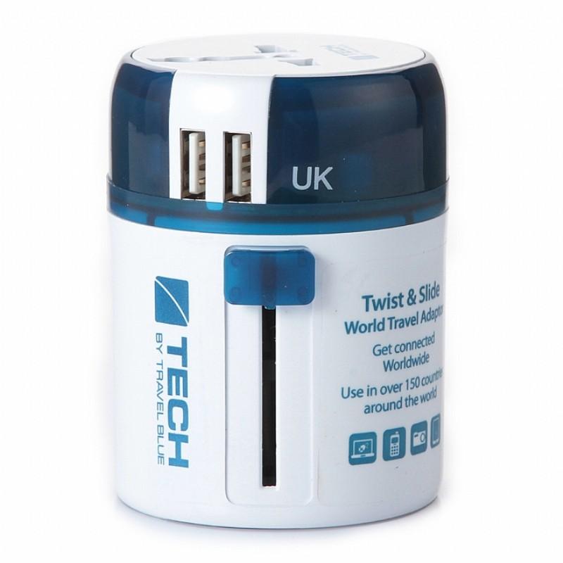 Travel Blue 英國藍旅旅行配件 多國旅行萬用轉接插頭 (USBX2) 藍色(TB272-BLU)