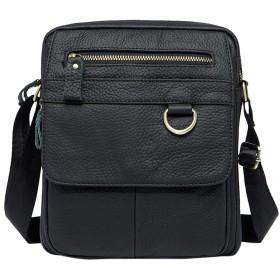 Zhhlinyuan 男性 Soft Medium Cowhide Leather Crossbody Shoulder Bag ショルダーバッグ Daypack Cross Body Bag Messenger Bag for Mens