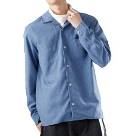 (モノマート) MONO-MART ポリトロ リラックス オープンカラー シャツ リラックス オープンカラーシャツ ブルー Mサイズ